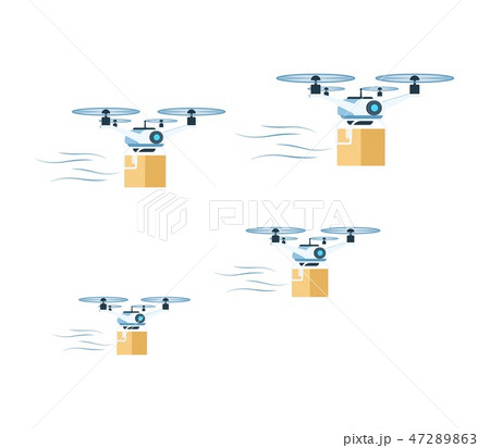 Flying Air Delivery Drone with Cardboard Box Set 47289863
