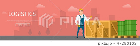Warehouse Worker Stand near Box and Tank Banner 47290105