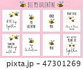 Valentine's day cards with cute bee, vector set 47301269
