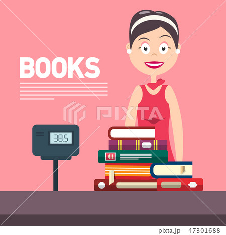 Woman with Cash Box in Bookstore.  47301688