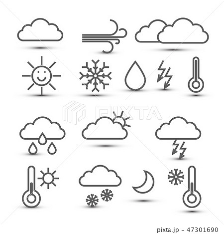 Weather Vector Icons Isolated on White Background 47301690