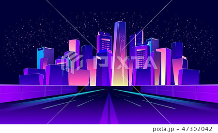 abstract neon city 47302042