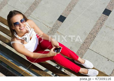Girl having good time outdoors 47309116