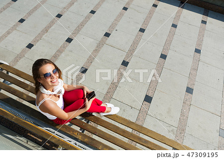 Girl having good time outdoors 47309195