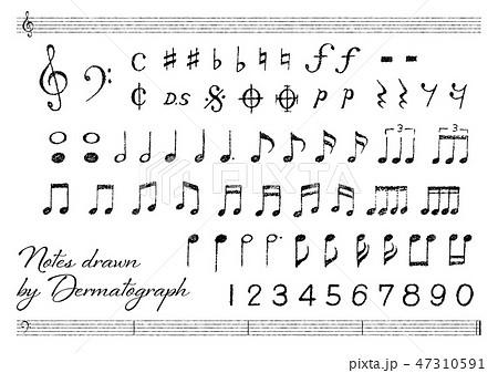 ベクター イラスト デザイン CG ai アイコン マーク 音楽 音符 五線譜 手描き ダーマト 47310591