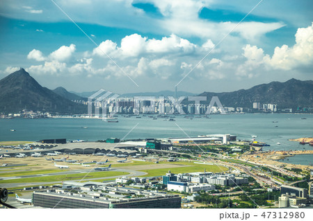Aerial view of international airport with airplane parking in Hong Kong, China. 47312980