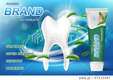 Whitening toothpaste ads, mint leaves background. Tooth model and product package design for 47313497