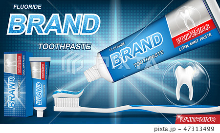 Mint toothpaste concept with sparkling effect on blue background. product package design for 47313499