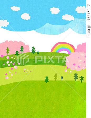 自然風景 丘 山 空 桜 コラージュ 47315317