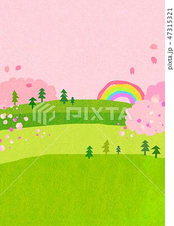 自然風景 丘 山 空 桜 コラージュ 47315321