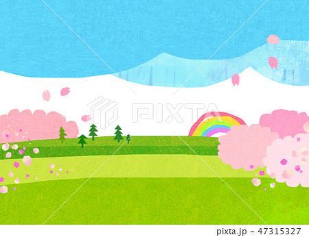 自然風景 丘 山 空 桜 コラージュ 47315327