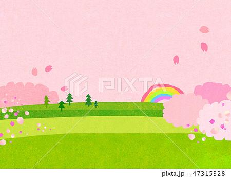自然風景 丘 山 空 桜 コラージュ 47315328