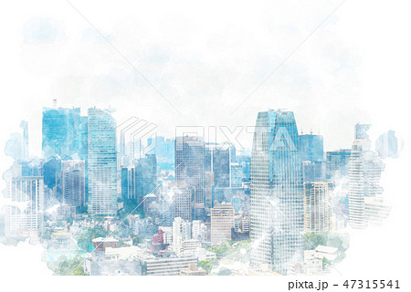 東京の風景 水彩画風 47315541