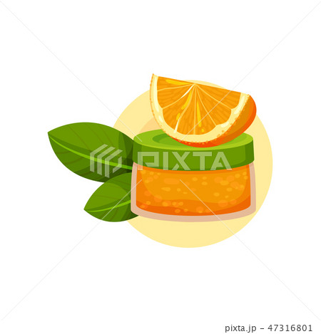 Jar of cream, slice of orange and two green leaves. Natural cosmetic for skin care. Organic product 47316801
