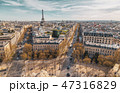 Beautiful panoramic view of Paris from the roof of the Triumphal Arch. Champs Elysees and the Eiffel 47316829