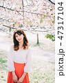 女性 春 桜の写真 47317104