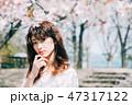 女性 春 桜の写真 47317122