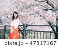女性 春 桜の写真 47317167