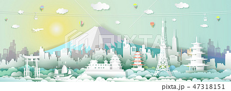 Traveling japan with cable car, balloon and plane. 47318151