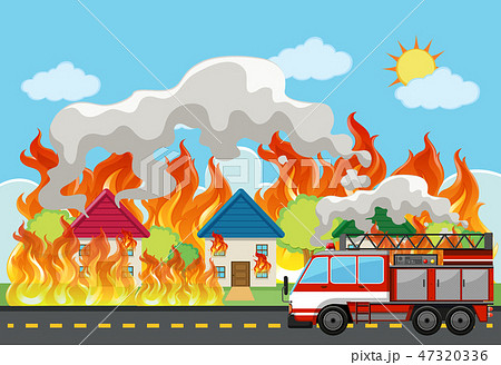 Emergency house fire background 47320336