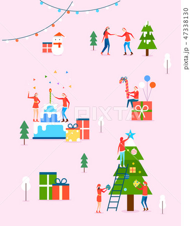 Seamless pattern with flat characters. Flat design element for card, banner and poster vector illustration. 008 47338130