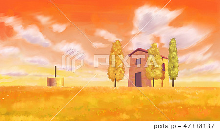 Beautiful autumn forest landscape in watercolor painting style illustration 011 47338137