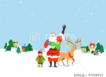 Christmas festive card background with Santa vector illustration. 010 47338312