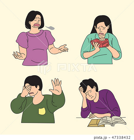 Set of various emotions suffer or stressful isolated vector illustration. 007 47338432