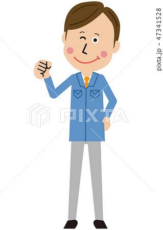 ポップな青い制服の作業員 男性 ガッツポーズ 47341528