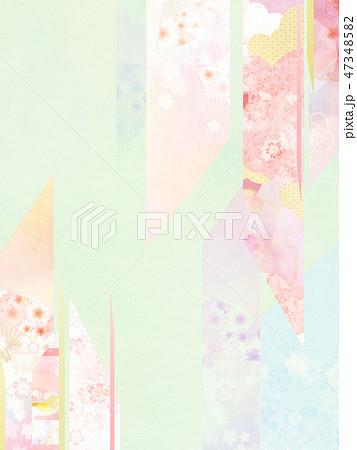 和-和風-和柄-背景-和紙-春-桜-ピンク-グリーン 47348582