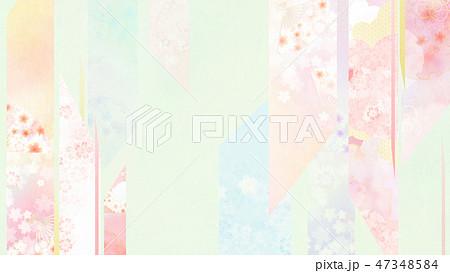 和-和風-和柄-背景-和紙-春-桜-ピンク-グリーン 47348584