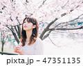 女性 春 桜の写真 47351135