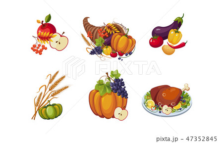 Autumn symbols, collection of Thanksgiving day holiday traditional elements vector Illustration 47352845