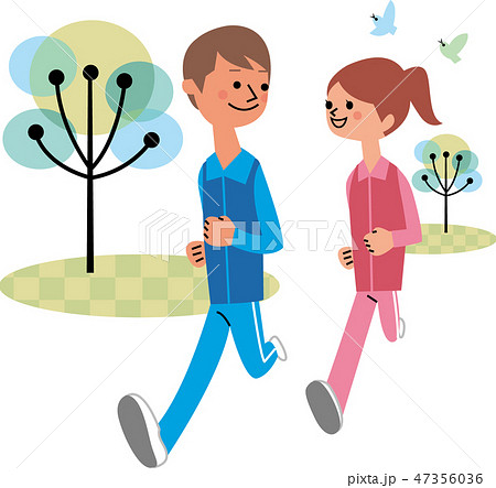 ジョギングカップル 47356036