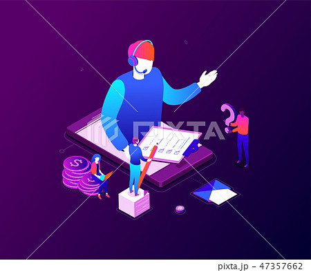Technical support - modern colorful isometric vector illustration 47357662
