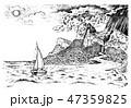 海 山 ベクトルのイラスト 47359825