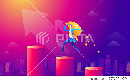 Vector cartoon businessman holding money bag and walking on red graph and upward arrow. Business 47362190