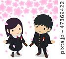 桜 卒業生 男女のイラスト 47369422