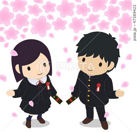 可愛い学生たち ジャンパースカート 卒業 桜 俯瞰 47369422