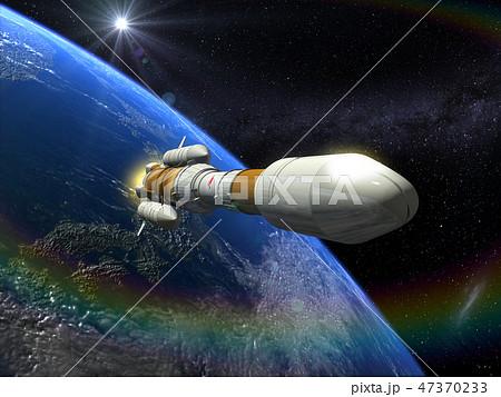 地球 CG 日本 ライジングサン 3D  ロケット 太陽 47370233