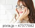 女性 若い女性 メガネの写真 47377082