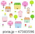 春 桜 街並みのイラスト 47383596