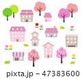 春 桜 街並みのイラスト 47383600