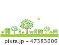 緑の街並みと鳥 イラスト 47383606