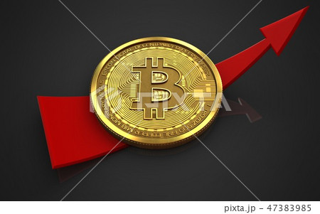 3d illustration of bitcoin with up arrow 47383985
