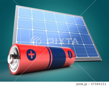 3d illustration of solar panel  with battery 47384151