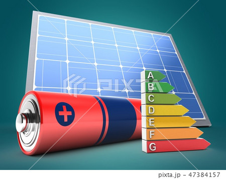 3d illustration of battery  with solar panel  47384157