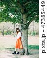 女性 若い 新緑の写真 47385449