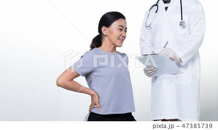 Asian Middle 60s age Woman Patient check up healthの写真素材 ...