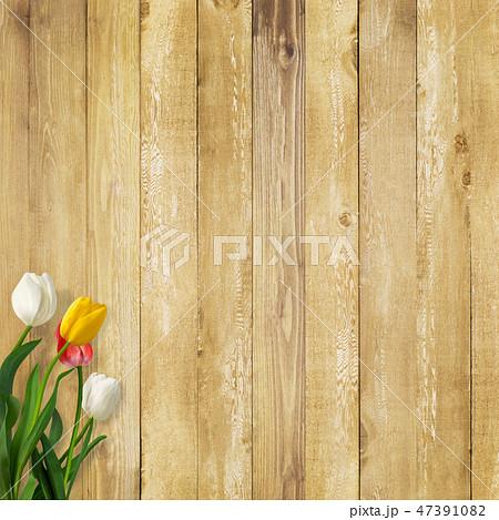 背景-壁-板-木目-茶-チューリップ-春 47391082